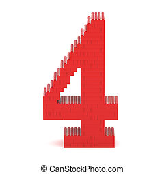 Number4 built from toy bricks - Number4 built from red toy...