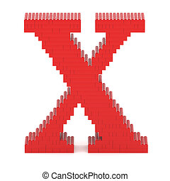 Letter X built from toy bricks - Letter X built from red toy...