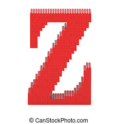 Letter Z built from toy bricks - Letter Z built from red toy...