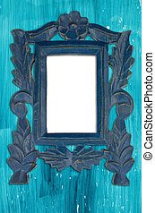 Ornamental blue frame on an aged wooden background.
