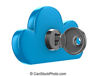 Cloud with key on white background Isolated 3D image