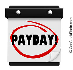 Payday Word Circled Wall Calendar Page - The word Payday...