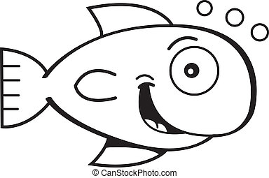 Cartoon goldfish - Black and white illustration of a...