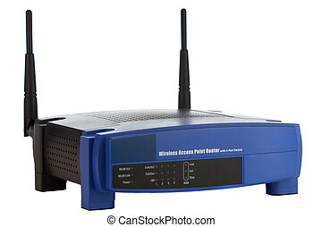 Wireless Router - Wireless router isolated on a white...