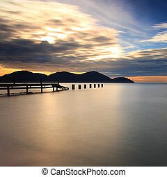 Long exposure sunset at Marina island, Lumut, Perak