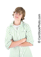 Smiling Teen boy - A teenaged boy in a striped shirt on a...