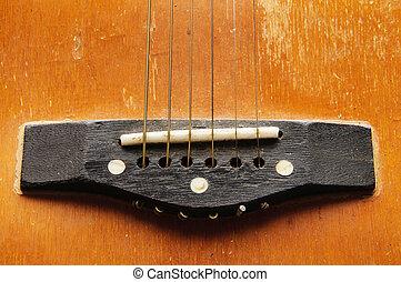 A close shot of a guitar sound hole