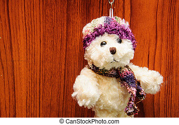 Stuffed Vintage Toy Dog with woods background