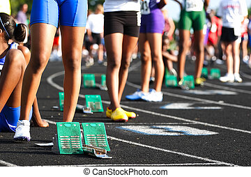Waiting at the starting line - The starting line of a...