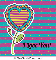 i love you design over lineal background vector illustration...