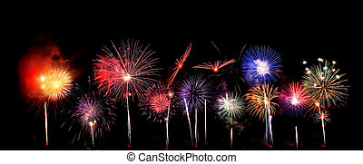 Fireworks background - a spectacular display is created by a...
