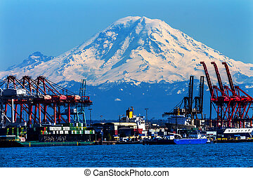 Seattle Port with Red Cranes and Ships Barges Pier and Dock...