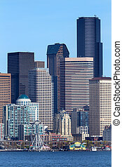 Seattle Towers Buildings Waterfront Cityscape Washington -...