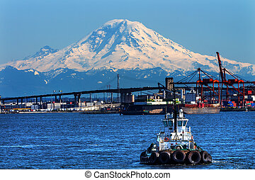 Tug Boat Seattle Port with Red Cranes West Seattle Bridge, and Mount Rainier in the Background