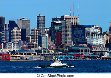 Seattle Skyline Tugboat Puget Sound Washington State Pacific...