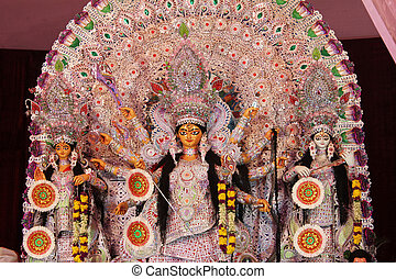 decorated goddess durga in durga puja - decorated durga mata...