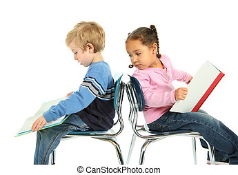 Young Boy and Girl reading