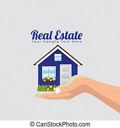 real estate deisgn over dotted background vector...