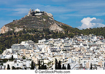 View of Mount Lycabettus in Athens, Greece