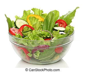 gostosa, salada, tigela, isolado, sobre, branca