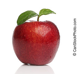 Delicious healthy red apple over white background