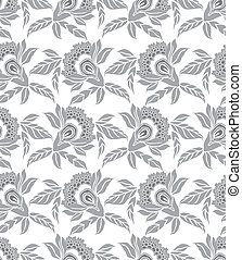 Silver seamless floral wallpaper