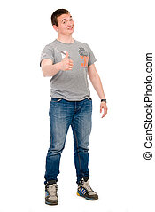 Happy casual young man showing thumb up isolated on white...