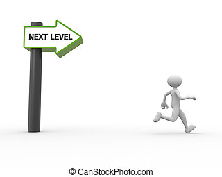 Arrow - 3d people - man, person with directional sign and...