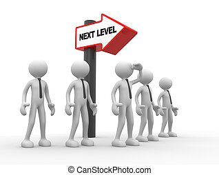 Next lavel - 3d people - man, person with directional sign...