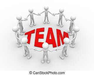 Team - 3d people - man, person in circle. Concept of...