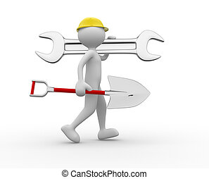 Constructor - 3d people - man, person with a wrench and a...