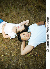 Happy and romantic asian couple