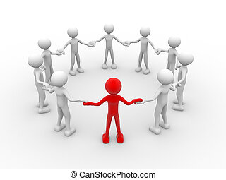 Team - 3d people - human character, people in circle...