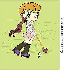 cute girl plying golf