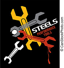 wrench steel vector tool