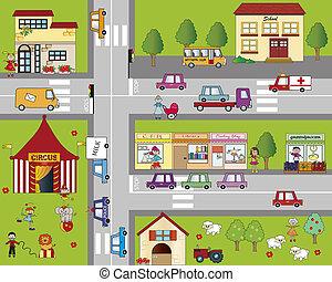 city - Illustration of fun cartoon cityscape
