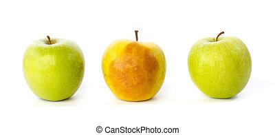Bruised apple between two healthy apples against white...
