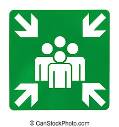 Green assembly point sign on white background