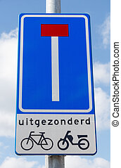 Road sign indicating dead end except for cyclists and mopeds