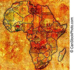 ghana on actual map of africa - ghana on actual vintage...