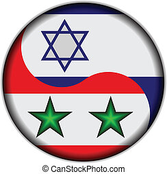 Israeli and Syrian flags in the Globe.Vector