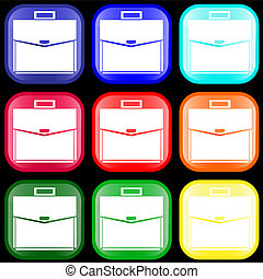 Icon of a briefcase on buttons