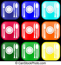 Icon of flatware on buttons - Icon of flatware on shiny...