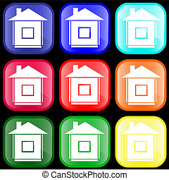 Icon of house on buttons