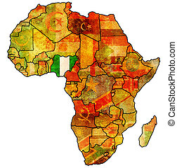 nigeria on actual map of africa - nigeria on actual vintage...