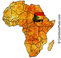 sudan on actual map of africa - sudan on actual vintage...