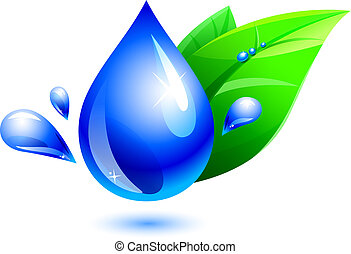 water drop and leaf - blue water drop and green leaf on...