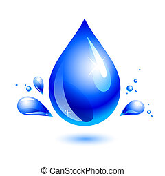 water drop - dlue water drop on white. include isolated...