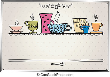 cup of tea or coffee. retro style. - retro frame with cup...