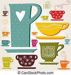 color cup. wallpaper. - cup of tea or coffee. Pattern....